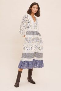ANTHROPOLOGIE Roberta Maxi Dress Blue Motif / floral mixed print dresses / folk inspired fashion