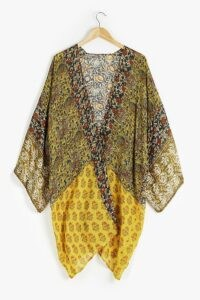 Anthropologie Alaina Kimono Gold ~ floaty multi print kimonos ~ lightweight flowing jackets ~ boho look