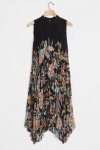 Anthropologie Cecily Pleated Midi Dress ~ lbd ~ little black floral print dresses ~ handkerchief hemlines