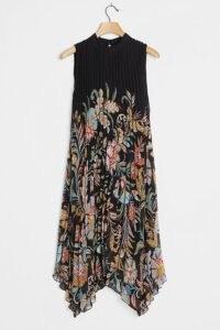 Anthropologie Cecily Pleated Midi Dress ~ lbd ~ little black floral print dresses ~ handkerchief hemlines