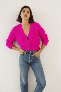 Maeve Sunny Cropped Cardigan ~ pink crop hem cardigans