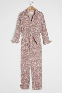 ANTHROPOLOGIE Paisley Utility Jumpsuit in Rose / feminine utilitarian fashion / long sleeve front pocket jumpsuits