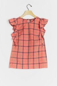 ANTHROPOLOGIE Amarette Ruffled Blouse Coral / plaid top / ruffle sleeve blouses / casual checked tops / check prints