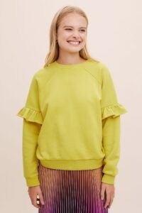 ANTHROPOLOGIE Amie Cotton Sweatshirt CHARTREUSE – frill sleeve sweatshirts – yellow green swat top