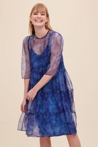 Anthropologie Zera Tiered-Silk Dress Blue – sheer overlay dresses