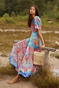 Anthropologie Amandine Maxi Dress – mixed floral print dresses