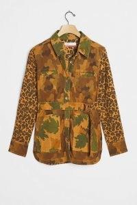 Pilcro Camo Cat Denim Utility Jacket Brown Motif – casual multi print jackets