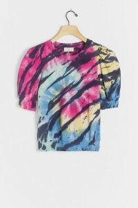 T.La Vitte Puff-Sleeved Pullover Top | multicoloured tie dye effect tops