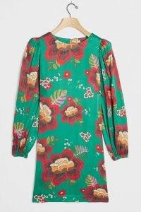 Farm Rio Marenka Mini Dress Green Motif | vintage print dresses | retro colours