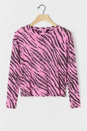 Stateside Zebra Burnout Top Pink / animal stripes / long sleeve crew neck tops - flipped