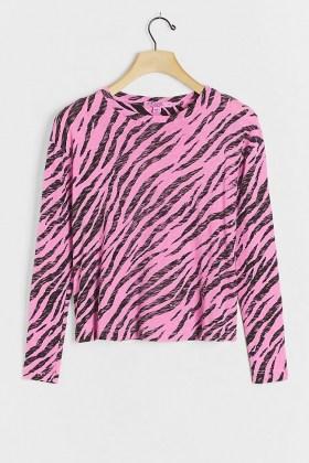Stateside Zebra Burnout Top Pink / animal stripes / long sleeve crew neck tops