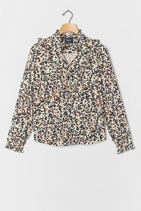 Maeve Katia Ruffled Top / ruffled animal print tops - flipped