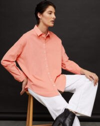 JIGSAW BABY CORD SHIRT PEACH BLUSH / relaxed fit shirts / drop shoulders