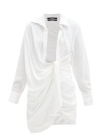 JACQUEMUS Bahia white knotted twill shirt dress ~ plunging neckline dresses ~ effortless summer glamour