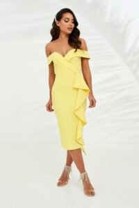 LAVISH ALICE bardot midi dress with waterfall ruffle in yellow – off the shoulder party dresses