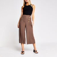 RIVER ISLAND Beige button front culotte trousers ~ brown culottes ~ crop leg trouser