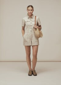 WHISTLES LEITH UTILITY TWILL PLAYSUIT BEIGE / utilitarian clothing / pocket detail playsuits