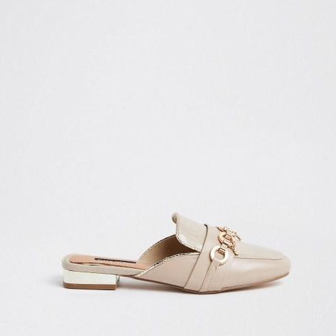 River Island Beige snaffle backless loafer   charm embellished open back loafers - flipped