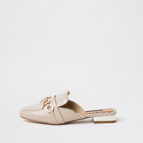 River Island Beige snaffle backless loafer   charm embellished open back loafers