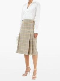VICTORIA BECKHAM Belted pleated checked-wool high-rise skirt | check print chain detail skirts
