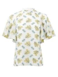 ERDEM Bennet cape-sleeve fil-coupé voile top in white ~ wide angel sleeves ~ flutter sleeved tops