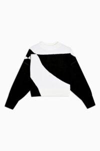 Topshop Black And White Pattern Knitted Sweatshirt | monochrome sweat top | retro knits