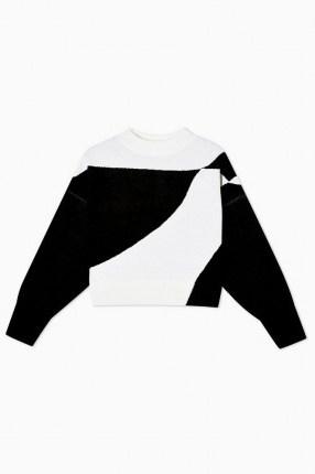 Topshop Black And White Pattern Knitted Sweatshirt | monochrome sweat top | retro knits - flipped