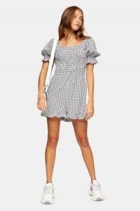 Topshop Black And White Shirred Gingham Playsuit | check puff sleeve playsuits