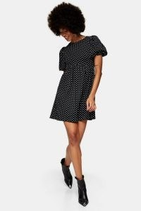 TOPSHOP Black And White Spot Babydoll Dress / polka dot puff sleeve dresses