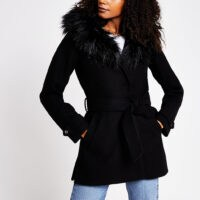 RIVER ISLAND Black Belted Short Fur Hood Robe – tie waist jacket