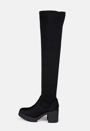 MISSGUIDED black chunky mid heel over the knee boots – block heels – autumn footwear - flipped