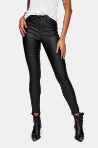 Topshop Black Coated Jamie Skinny Jeans | skinnies with sheen