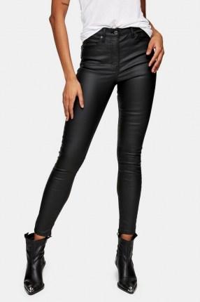 Topshop Black Coated Jamie Skinny Jeans   skinnies with sheen - flipped