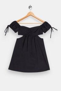 TOPSHOP Black Cut Out Puff Mini Dress ~ lbd ~ party dresses