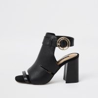 RIVER ISLAND Black cut out shoe boot / block heel / chunky heels / open toe shoes / side buckle ankle strap
