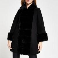 RIVER ISLAND Black faux fur panelled swing coat / chic winter coats