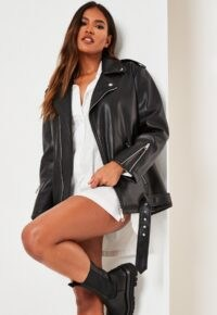 MISSGUIDED black faux leather long biker jacket – casual autumn jackets