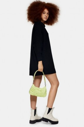 TOPSHOP Black Knitted Oversized Mini Dress   sweater   cocoon jumper dresses - flipped