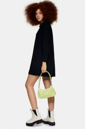 TOPSHOP Black Knitted Oversized Mini Dress   sweater   cocoon jumper dresses