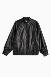 Topshop Boutique Black Leather Bomber Jacket | weekend jackets