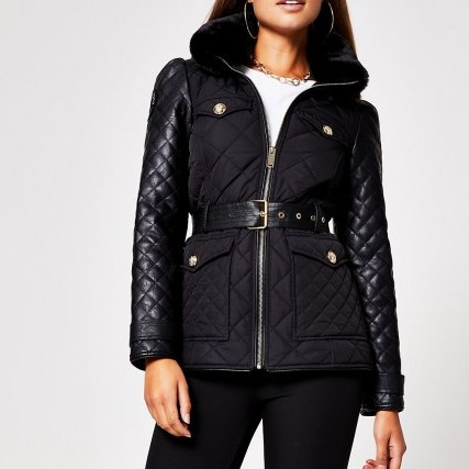 RIVER ISLAND Black lightweight padded jacket ~ quilted jackets - flipped