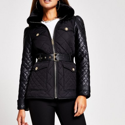 RIVER ISLAND Black lightweight padded jacket ~ quilted jackets