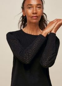 WHISTLES LONG SLEEVE BRODERIE TOP BLACK