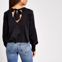 River Island Black Ls Balloon Sleeve Luxe Top | tie back detail tops