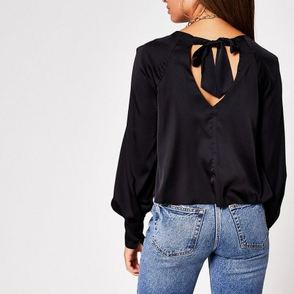 River Island Black Ls Balloon Sleeve Luxe Top | tie back detail tops - flipped