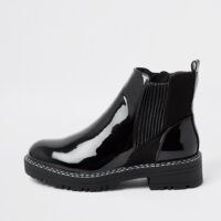 RIVER ISLAND Black patent chunky chelsea boot ~ high shine ankle boots ~ glossy finish ~ autumn / winter footwear