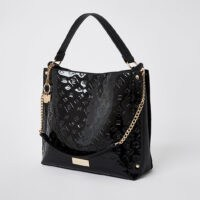 River Island Black patent embossed slouch handbag | high shine handbags