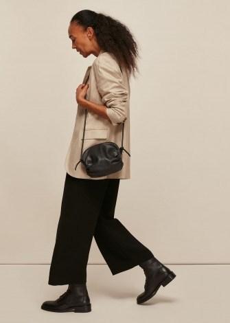 WHISTLES RIYA GATHERED BAG BLACK / side ruched leather crossbody - flipped
