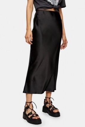 Topshop Black Satin Bias Maxi Skirt | slinky skirts - flipped