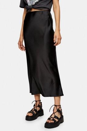 Topshop Black Satin Bias Maxi Skirt | slinky skirts